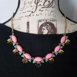 J. Crew Blue And Pink Statement Necklace